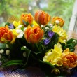 Bunch of flowers to beloved — Stock Photo