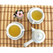 Tea serving with two cups, teapot — Stockfoto