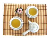 Tea serving with two cups, teapot — Stock Photo