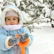 Cute baby on winter day — Stockfoto