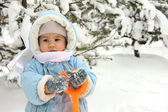Cute baby on winter day — Stock Photo