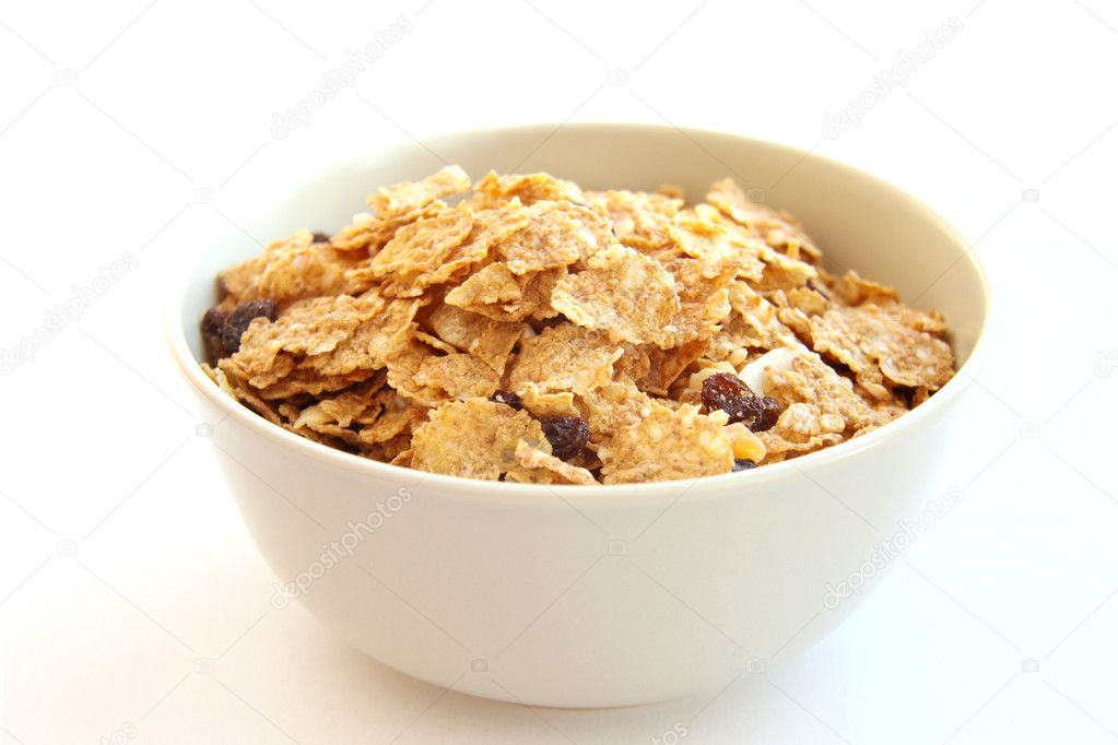 Flakes in bowl on white background  Stock Photo #1843325