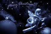 Christmas decoration.Silver angel — Stock Photo