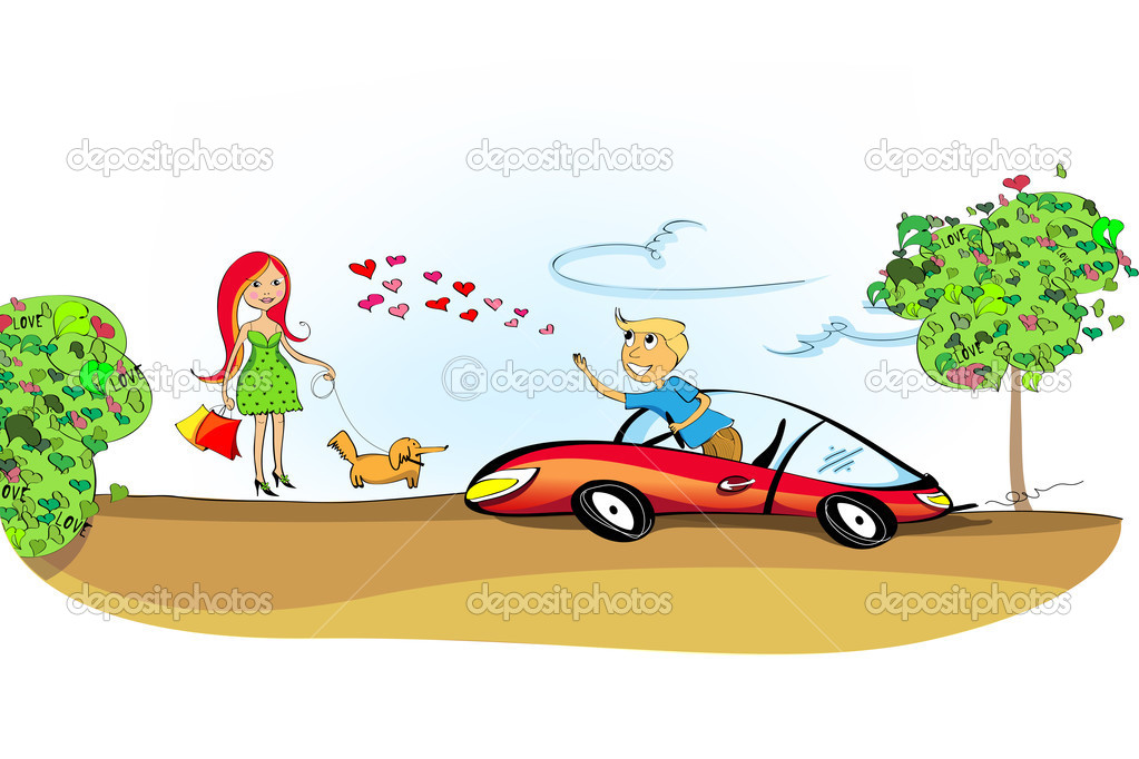 A situation on the road: man falling in love with a cute rea-haired young woman walking in a park with her dog. — Stock Vector #1442815