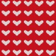 Seamless knitted heart — Stok Vektör