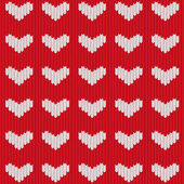 Seamless knitted heart — Vetor de Stock