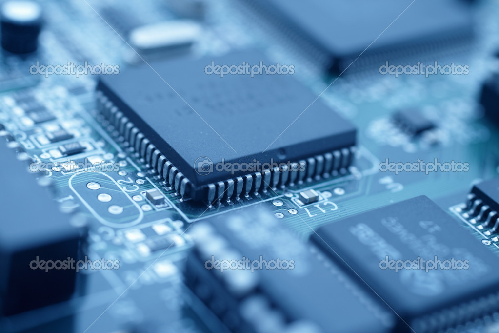 Futuristic technology - Cool blue image of a computer cpu  Stock Photo #1443628