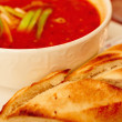 Hearty red spicy italian tomato soup — Stock Photo