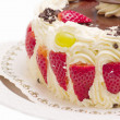 Delicious layer cake with strawberries — Stock Photo