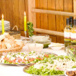 Buffet of healthy food on table — Stock Photo