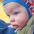 Worried baby boy showing expressions — Stok fotoğraf