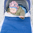 Let me out - Baby boy sitting in pram — ストック写真