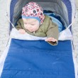 Let me out - Baby boy sitting in pram — Foto Stock