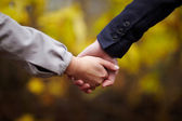 Romance - Couple holding hands in fall — Stock Photo