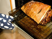 Persons hand taking roast out of oven — Stock Photo