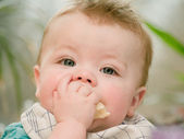 Portrait of a cute young baby boy eating — Stock Photo