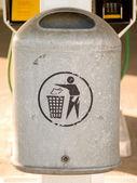 Grey metal rubbish bin with copyspace — Stock Photo