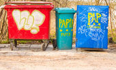 Plastic recycling bins in Denmark — Stock Photo