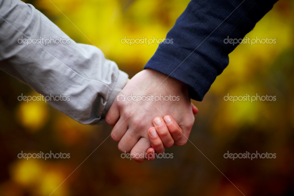 Love - Couple holding hands in fall  — Stock Photo #1460366