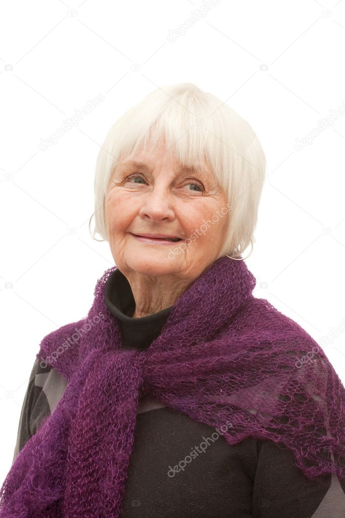 Thoughtful older woman reading a book  with white background  Stock Photo #1819249
