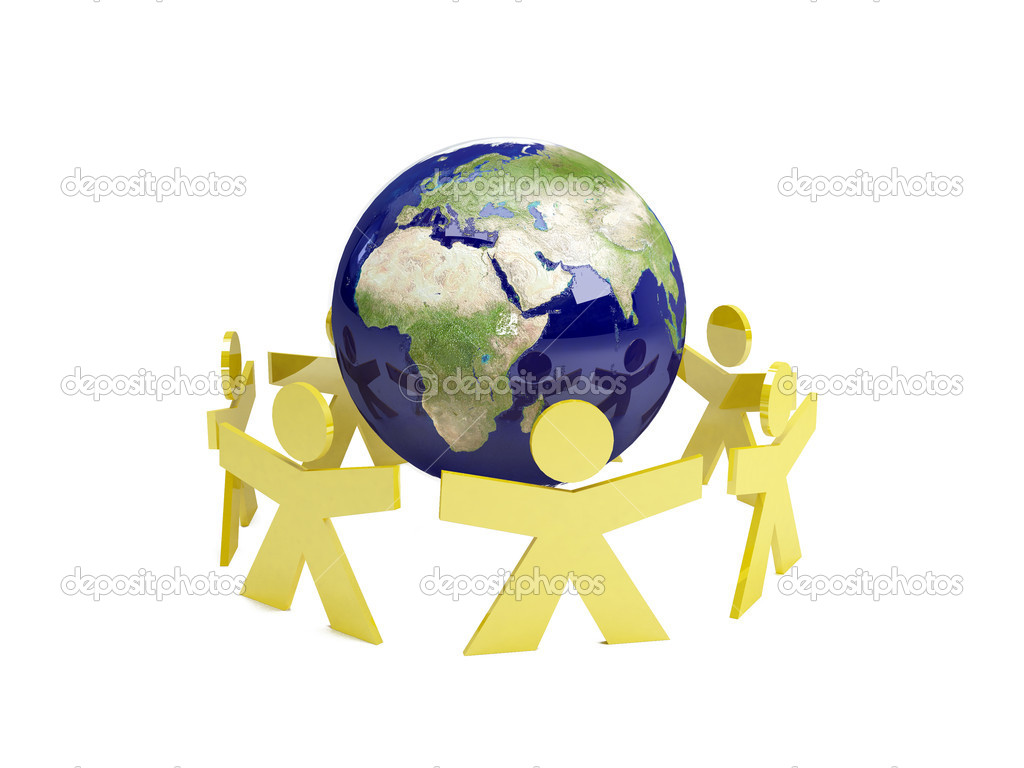 Illustration of a planet with peoples around it — Stock Photo #1452796