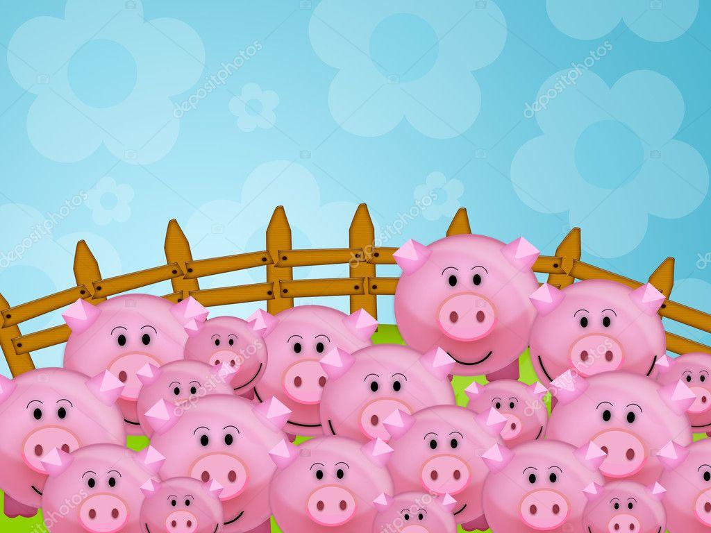 可爱的粉红色的猪在农场中的插图