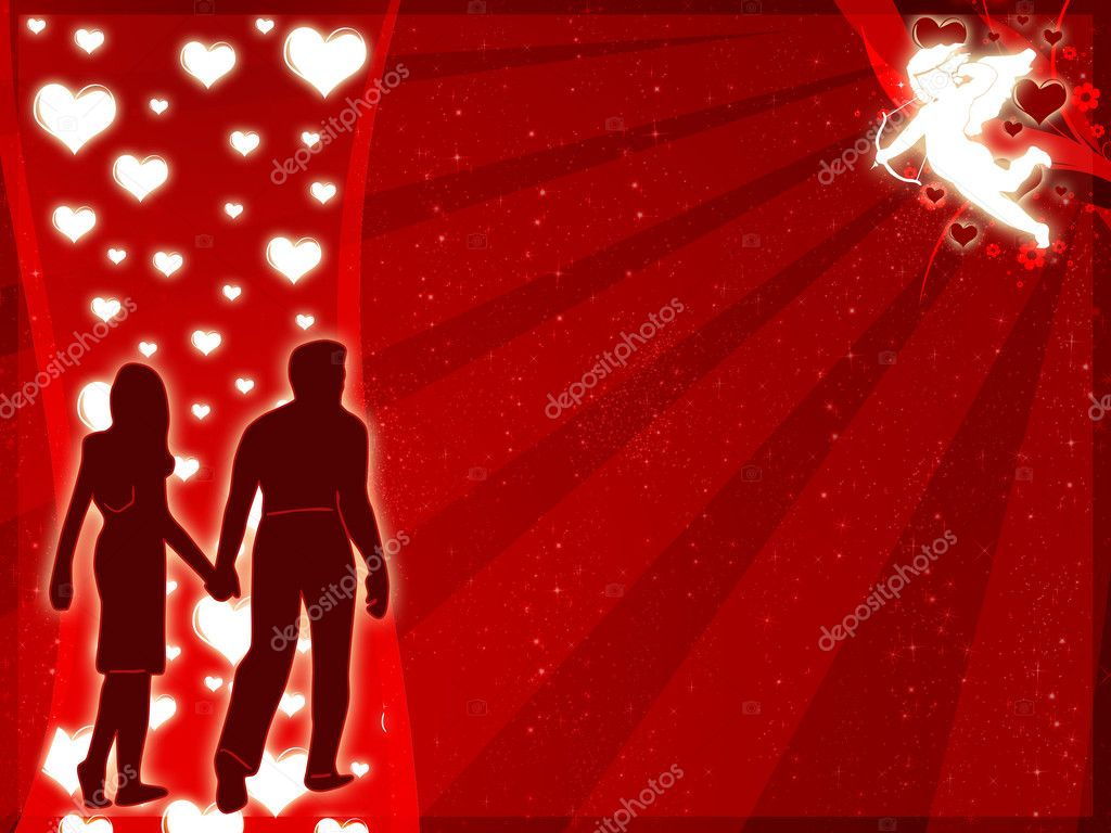 Illustration for lovers with hearts and swirls — Stock Photo #1457164