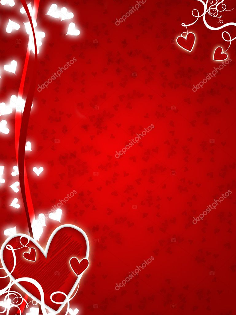 Illustration for lovers with hearts and swirls  Stock Photo #1457216