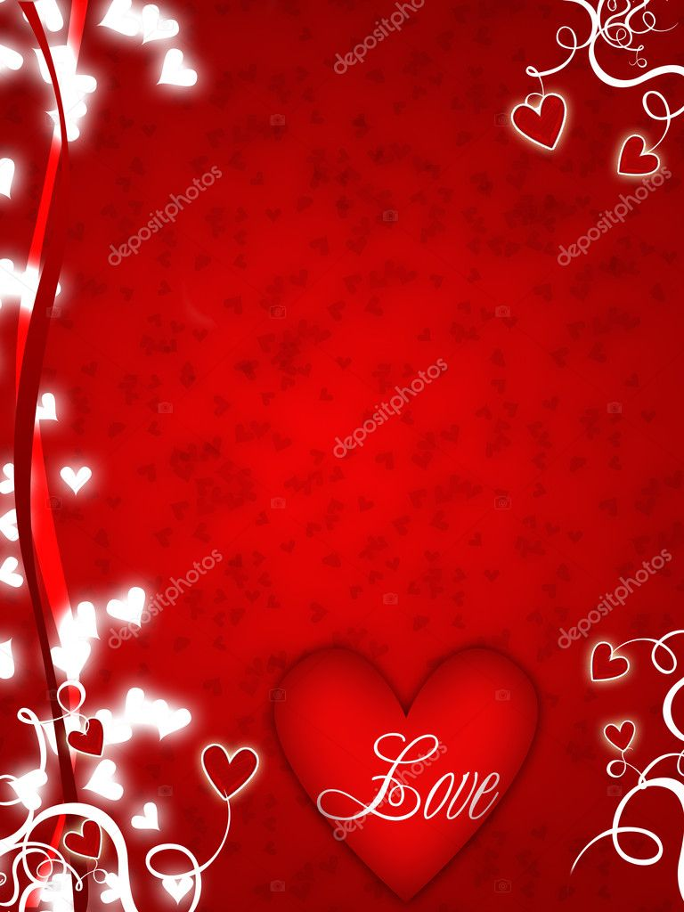 Illustration for lovers with hearts and swirls — Stock Photo #1457331