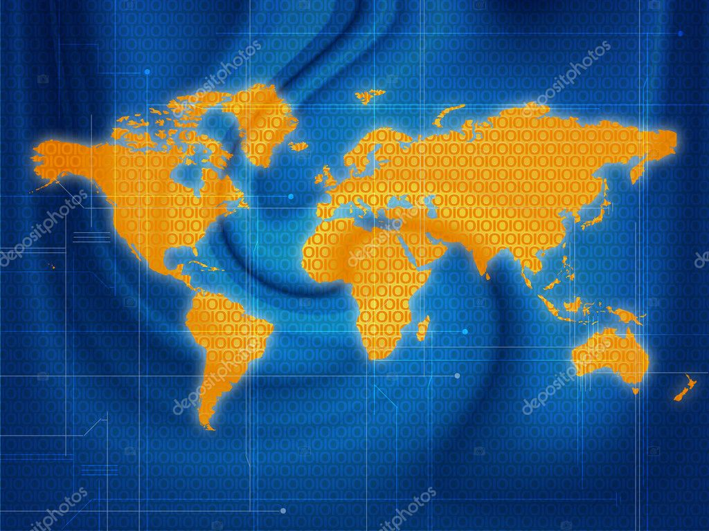 Illustration of a world map techno style on a blue background — Stock Photo #1457990