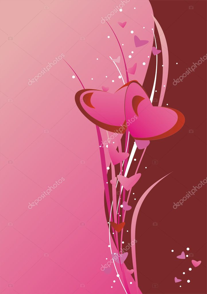 Bright hearts on the pink background — Stock Vector #1528425