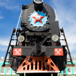Russian obsolete steam locomotive — Stock Photo