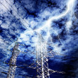 Lightning strike to power line pillar - Stock Photo