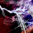 Lightning strike to power line pillar — Stock Photo #1452999