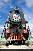 Russian obsolete steam locomotive — Stock Photo