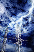 Lightning strike to power line pillar — Stock Photo