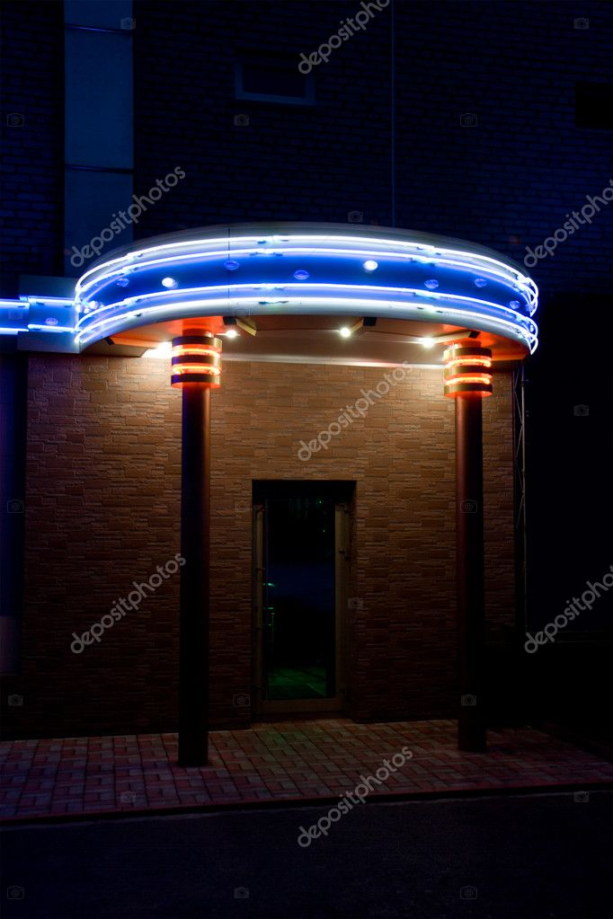 Gate in night bar. Neon illumination. — Stock fotografie #1451665