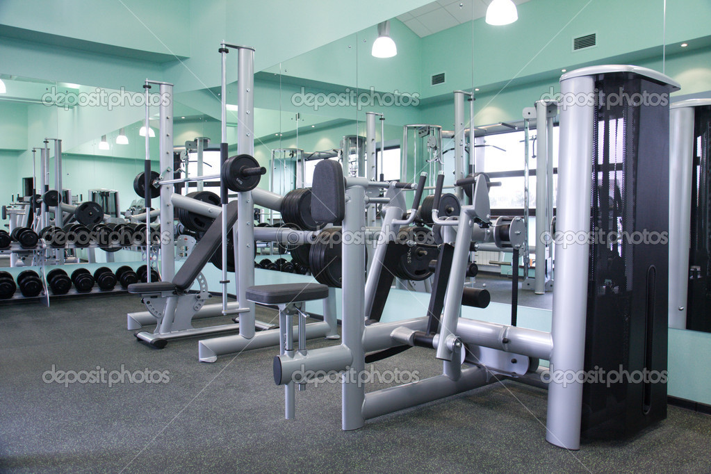 Room with gym equipment in the sport club  Stock Photo #1453068