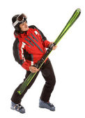 Skier hold ski like rock guitar — Stock Photo
