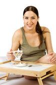Una mujer embarazada tomar té — Foto de Stock