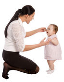 A mother teaches his daughter to speak — Stock Photo