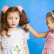 Two little girl fight — Foto Stock
