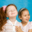 Two smiling little girls — Stock Photo