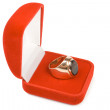 Golden ring in red box. — Stock Photo