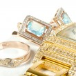 Jewelry set, ring, watch, earrings - Stock fotografie