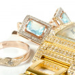 Jewelry set, ring, watch, earrings - Foto de Stock