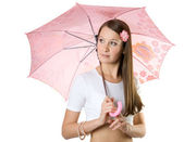 Young girl with umbrella. — Stock Photo