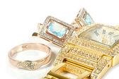 šperky set, prsten, hodinky, náušnice — Stock fotografie