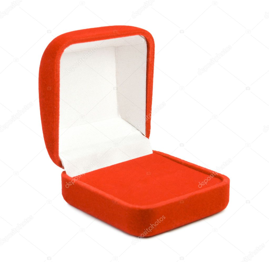 Opened red box for jewelry. Isolate on white. — Stock Photo #1549462
