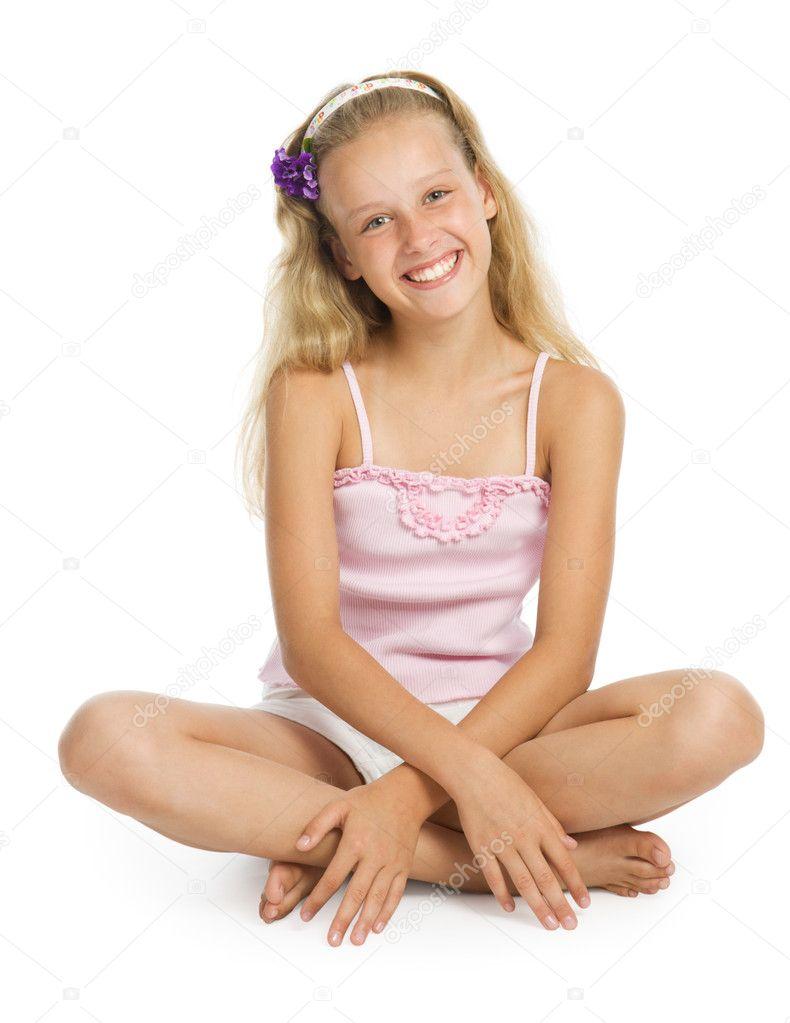 Pretty teenage girl sit on floor stock photo vadimpp 1610009 - Image of teen ...